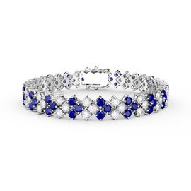 Eternity Three Row Sapphire and Diamond CZ Silver Tennis Bracelet 7 Inch