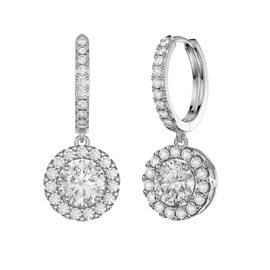Eternity 2ct White Sapphire Halo Drop Hoop Earrings in Platinum plated Silver