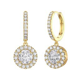 Eternity 2ct White Sapphire Halo Drop Hoop Earrings in 18ct Gold Vermeil