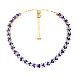 Eternity Three Row Sapphire 18ct Gold Vermeil Adjustable Choker Tennis Necklace