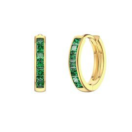 Princess Emerald 18ct Gold Vermeil Hoop Earrings Small