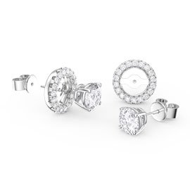 Fusion White Sapphire Platinum plated Silver Stud Earrings Halo Jacket Set