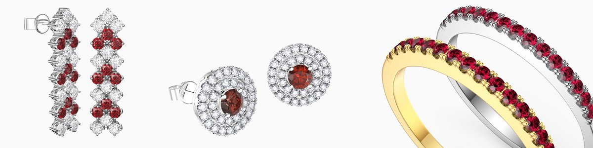 Ruby Jewellery - Ruby Necklaces, Earrings, Studs, Drops, Pendants, Engagement Rings and Bracelets