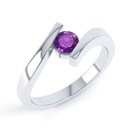Combinations Amethyst Round Stacking Silver Ring