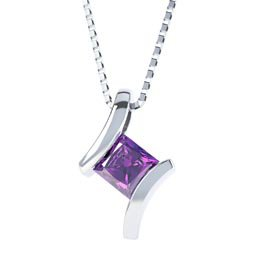 Combinations Amethyst Square Silver Pendant