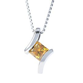 Combinations Citrine Square Silver Pendant
