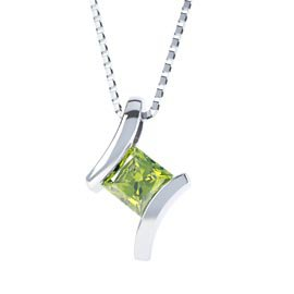 Combinations Peridot Square Silver Pendant