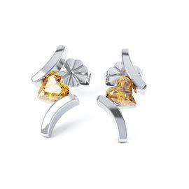 Combinations Citrine Heart Rhodium plated Silver Earrings