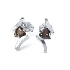 Combinations Smokey Quartz Heart Rhodium plated Silver Earrings