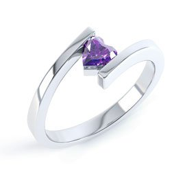 Combinations Amethyst Heart Stacking Silver Ring