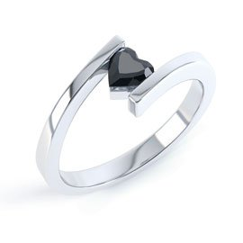 Combinations Onyx Heart Stacking Silver Ring