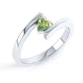 Combinations Peridot Heart Stacking Silver Ring