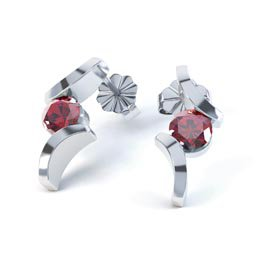 Combinations Garnet Round Rhodium plated Silver Earrings