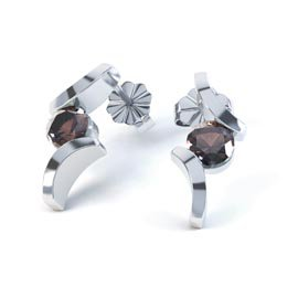 Combinations Smokey Quartz Round Rhodium plated Silver Earrings