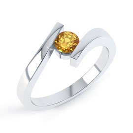 Combinations Citrine Round Stacking Silver Ring
