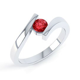 Combinations Garnet Round Stacking Silver Ring