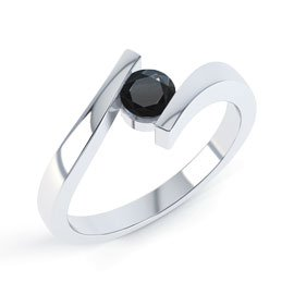 Combinations Onyx Round Stacking Silver Ring