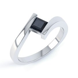 Combinations Onyx Square Stacking Silver Ring