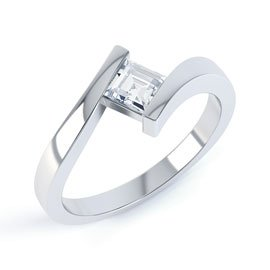 Combinations White Topaz Square Stacking Silver Ring