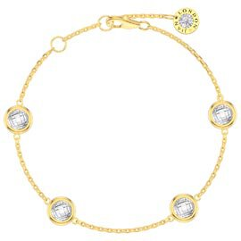 White Sapphire By the Yard 18ct Gold Vermeil Bracelet