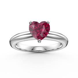 Unity 1ct Heart Ruby Solitaire 18ct White Gold Proposal Ring