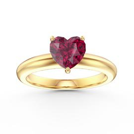 Unity 1ct Heart Ruby Solitaire 9ct Yellow Gold Proposal Ring