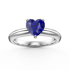 Unity 1ct Heart Blue Sapphire Solitaire 18ct White Gold Proposal Ring