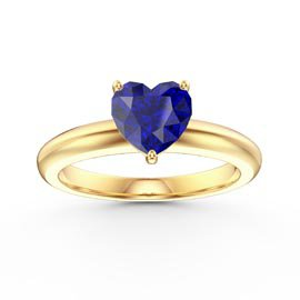 Unity 1ct Heart Blue Sapphire Solitaire 18ct Yelow Gold Proposal Ring