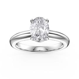 Unity 1.25ct Oval White Sapphire Solitaire Platinum plated Silver Promise Ring