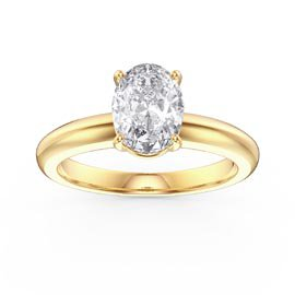 Unity 1.25ct Oval White Sapphire Solitaire 18ct Gold Vermeil Promise Ring