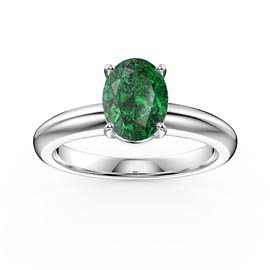 Unity 1.25ct Oval Emerald Solitaire 18ct White Gold Proposal Ring