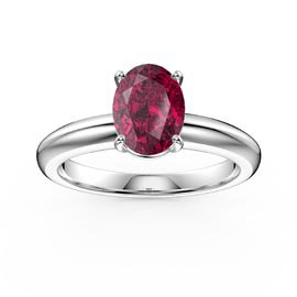 Unity 1.25ct Oval Ruby Solitaire 18ct White Gold Proposal Ring