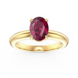Unity 1.25ct Oval Ruby Solitaire 18ct Yellow Gold Proposal Ring