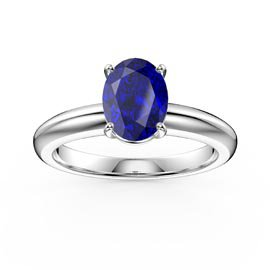 Unity 1.25ct Oval Blue Sapphire Solitaire 18ct White Gold Proposal Ring