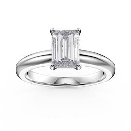 Unity 1ct White Sapphire Emerald Cut Solitaire Platinum plated Silver Promise Ring