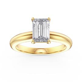 Unity 1ct White Sapphire Emerald Cut Solitaire 18ct Gold Vermeil Promise Ring