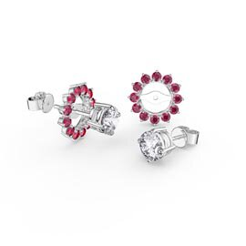 Fusion White Sapphire Platinum plated Silver Stud Earrings Ruby Halo Jacket Set