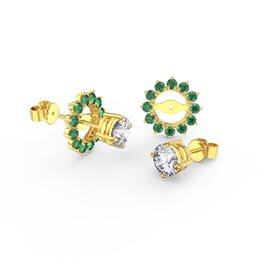 Fusion White Sapphire 18ct Gold Vermeil Stud Earrings Emerald Halo Jacket Set