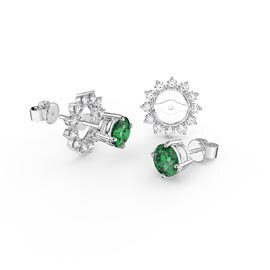 Fusion Emerald Platinum plated Silver Stud Starburst Earrings Halo Jacket Set