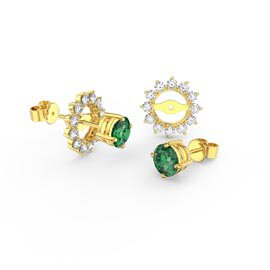 Fusion Emerald 18ct Gold Vermeil Stud Starburst Earrings Halo Jacket Set