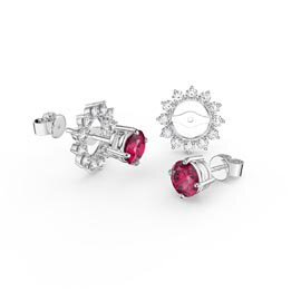 Fusion Ruby Platinum plated Silver Stud Starburst Earrings Halo Jacket Set