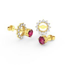 Fusion Ruby 18ct Gold Vermeil Stud Starburst Earrings Halo Jacket Set