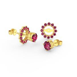 Fusion Ruby 18ct Gold Vermeil Stud Gemburst Earrings Halo Jacket Set