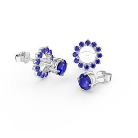 Fusion Sapphire Platinum plated Silver Stud Gemburst Earrings Halo Jacket Set