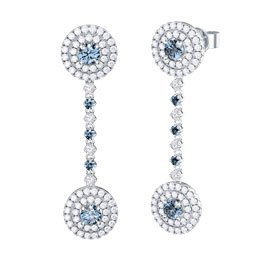 Fusion Aquamarine Halo Platinum plated Silver  Stud and Drop Earrings Set
