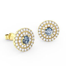 Fusion Aquamarine Halo 18ct Gold Vermeil Stud Earrings
