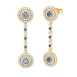 Fusion Aquamarine Halo 18ct Gold Vermeil Stud and Drop Earrings Set