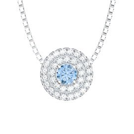 Fusion Aquamarine and White Sapphire Halo Platinum plated Silver Pendant
