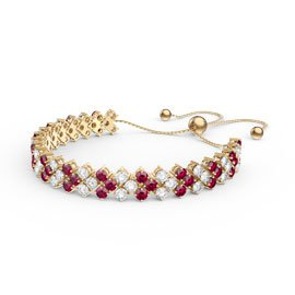 Eternity Three Row Ruby and Diamond CZ 18ct Gold plated Silver Adjustable Tennis Bracelet