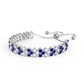 Eternity Three Row Sapphire and Diamond CZ Silver Adjustable Tennis Bracelet
